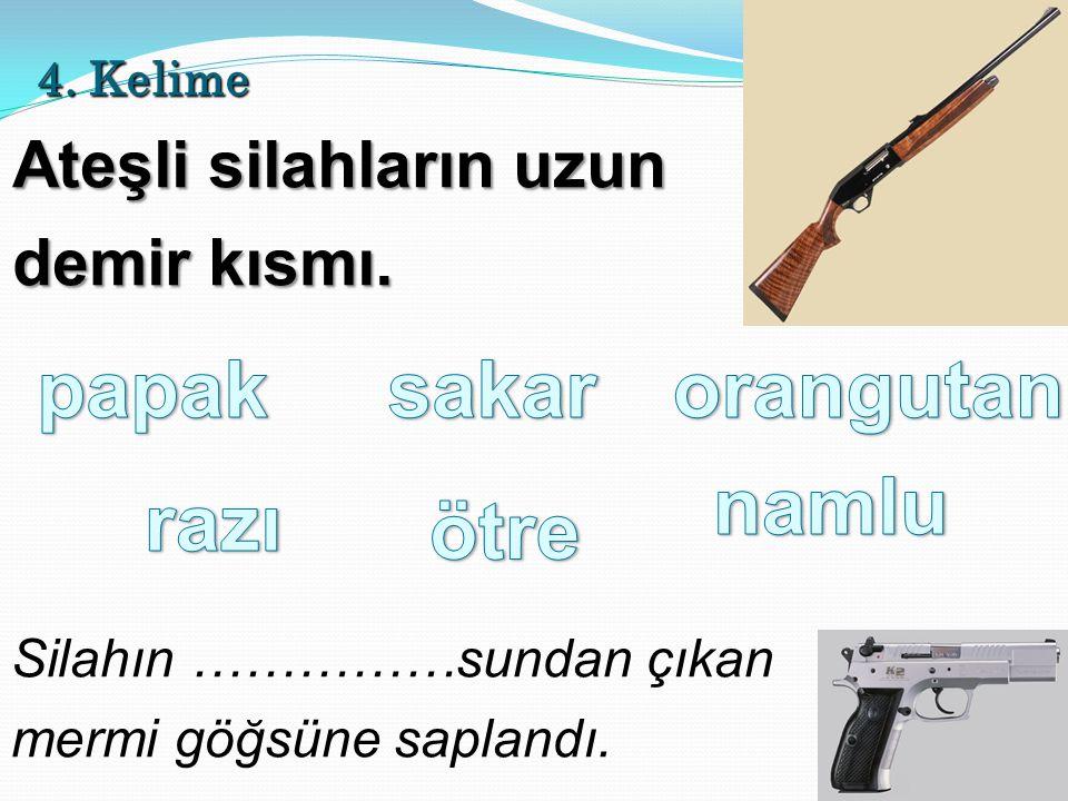 4. Kelime Ateşli silahların uzun demir kısmı. Silahın ……………sundan çıkan mermi göğsüne saplandı.