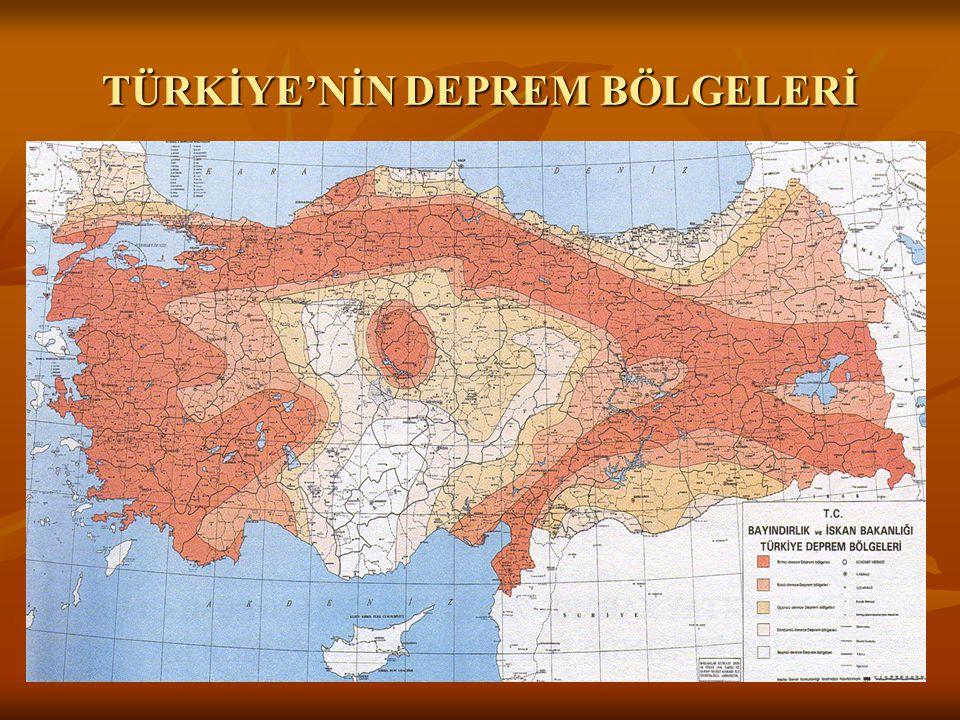 TÜRKİYE'NİN DEPREM BÖLGELERİ