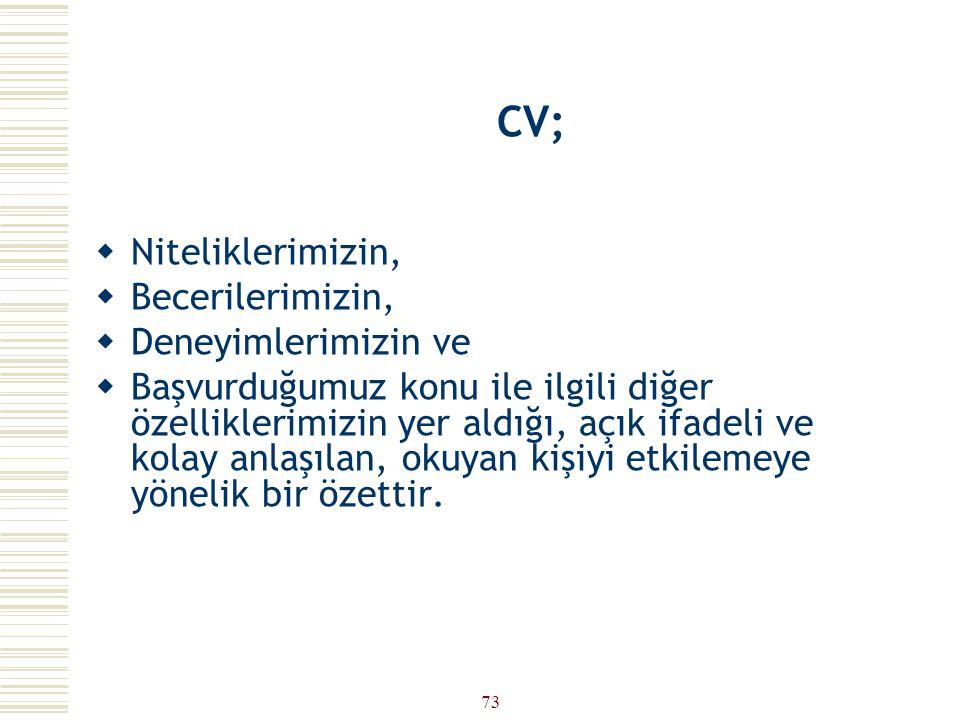 """72 CV (ÖZGEÇMİŞ) HAZIRLAMA TEKNİKLERİ  CV (Curriculum Vitae): """"Hayat yarışı"""".  Resumé : """"Özet"""