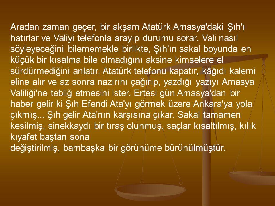 Aradan zaman geçer, bir akşam Atatürk Amasya'daki Şıh'ı hatırlar ve Valiyi telefonla arayıp durumu sorar. Vali nasıl söyleyeceğini bilememekle birlikt