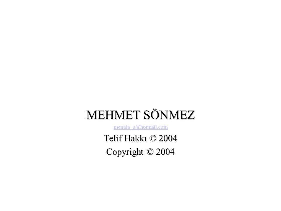 MEHMET SÖNMEZ menala_s@hotmail.com Telif Hakkı © 2004 Copyright © 2004
