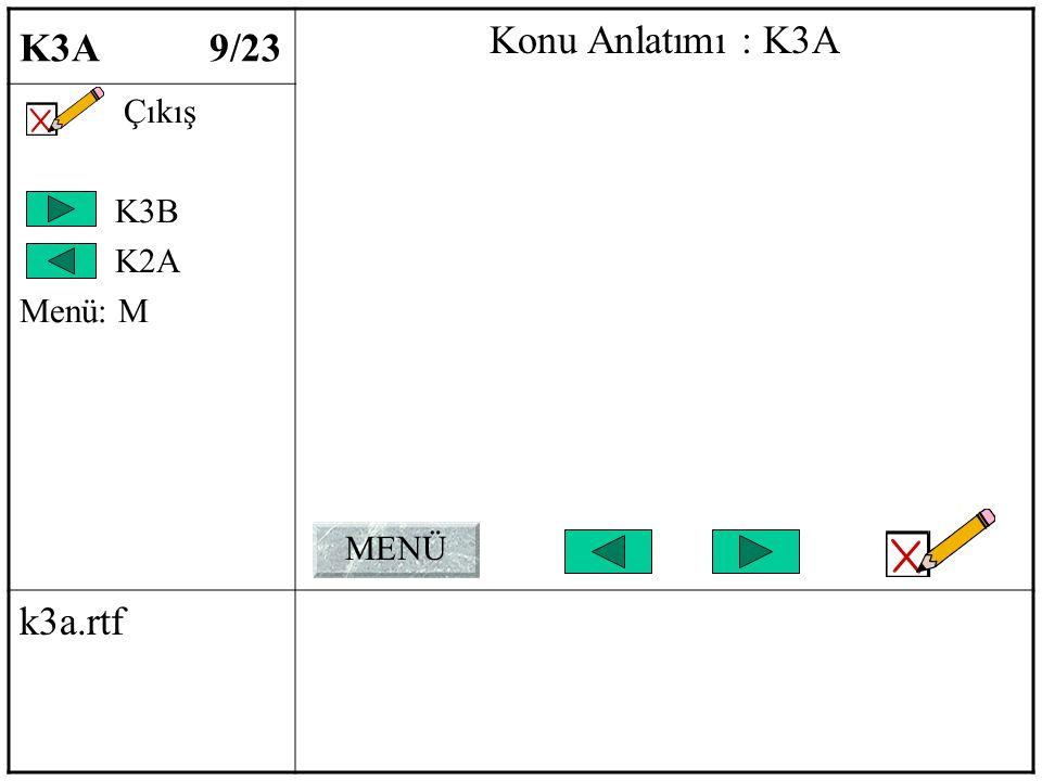 K3A 9/23 Konu Anlatımı : K3A Çıkış K3B K2A Menü: M k3a.rtf MENÜ