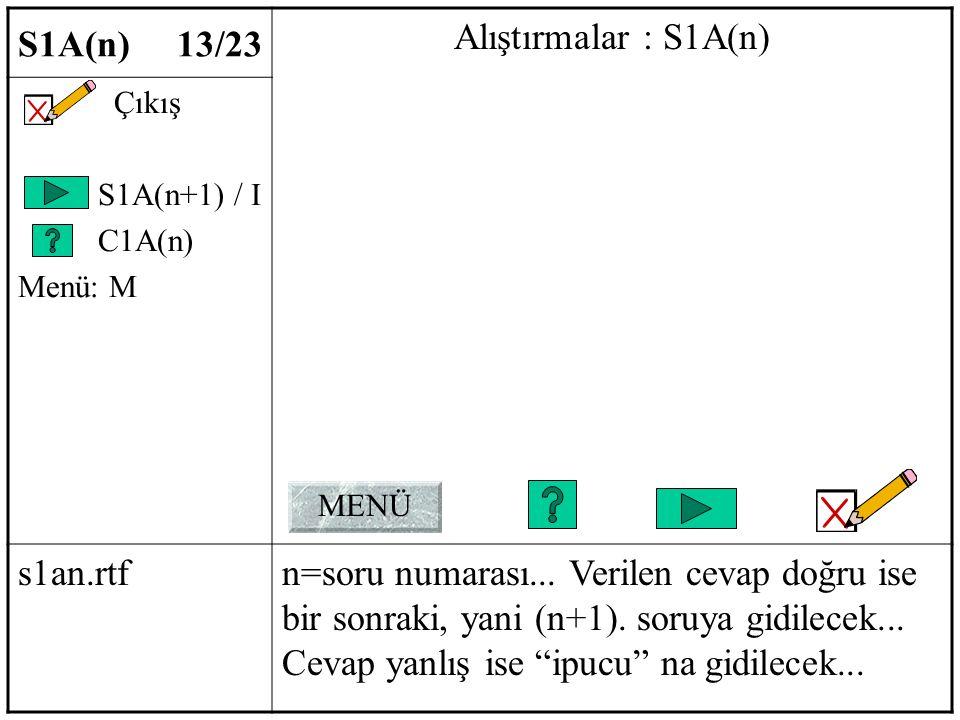S1A(n) 13/23 Alıştırmalar : S1A(n) Çıkış S1A(n+1) / I C1A(n) Menü: M s1an.rtfn=soru numarası...