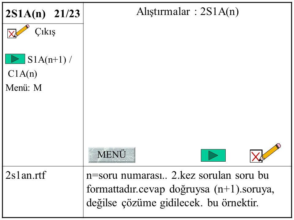 2S1A(n) 21/23 Alıştırmalar : 2S1A(n) Çıkış S1A(n+1) / C1A(n) Menü: M 2s1an.rtfn=soru numarası..