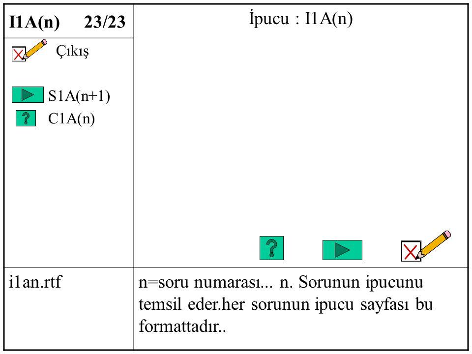 I1A(n) 23/23 İpucu : I1A(n) Çıkış S1A(n+1) C1A(n) i1an.rtfn=soru numarası...