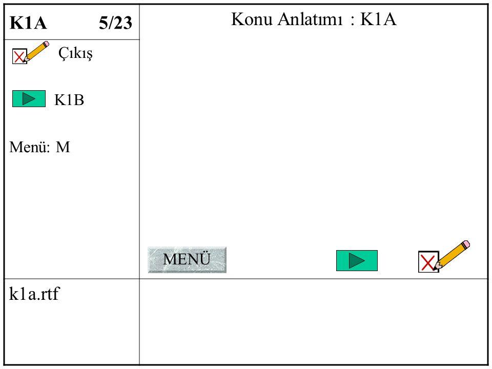 K1A 5/23 Konu Anlatımı : K1A Çıkış K1B Menü: M k1a.rtf MENÜ