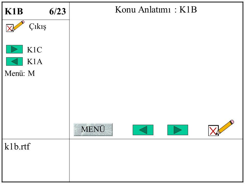 K1B 6/23 Konu Anlatımı : K1B Çıkış K1C K1A Menü: M k1b.rtf MENÜ