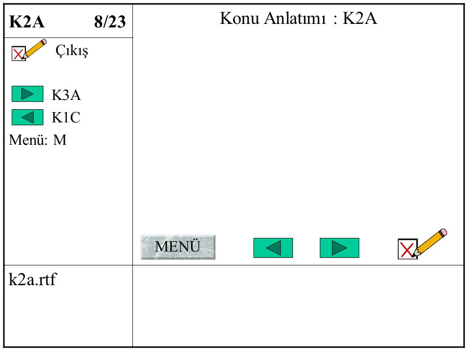 K2A 8/23 Konu Anlatımı : K2A Çıkış K3A K1C Menü: M k2a.rtf MENÜ