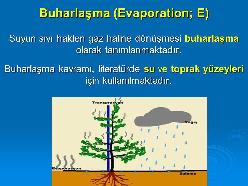 Buharlaşma (Evaporation; E) Suyun sıvı halden gaz haline dönüşmesi buharlaşma olarak tanımlanmaktadır. Buharlaşma kavramı, literatürde su ve toprak yü