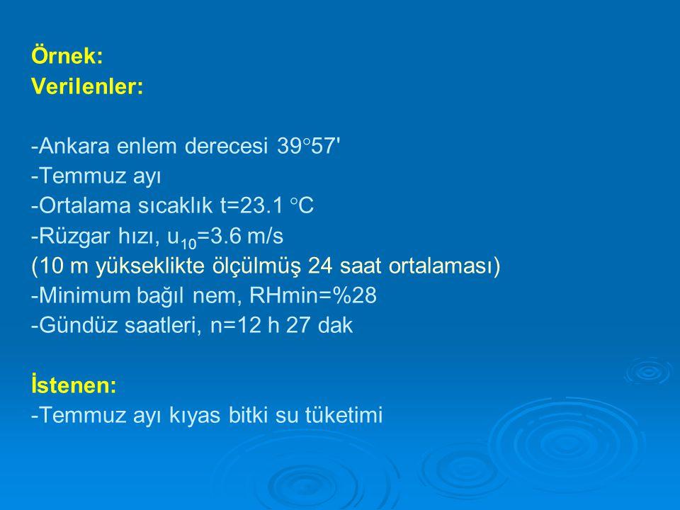 Örnek: Verilenler: -Ankara enlem derecesi 39°57' -Temmuz ayı -Ortalama sıcaklık t=23.1 °C -Rüzgar hızı, u 10 =3.6 m/s (10 m yükseklikte ölçülmüş 24 sa