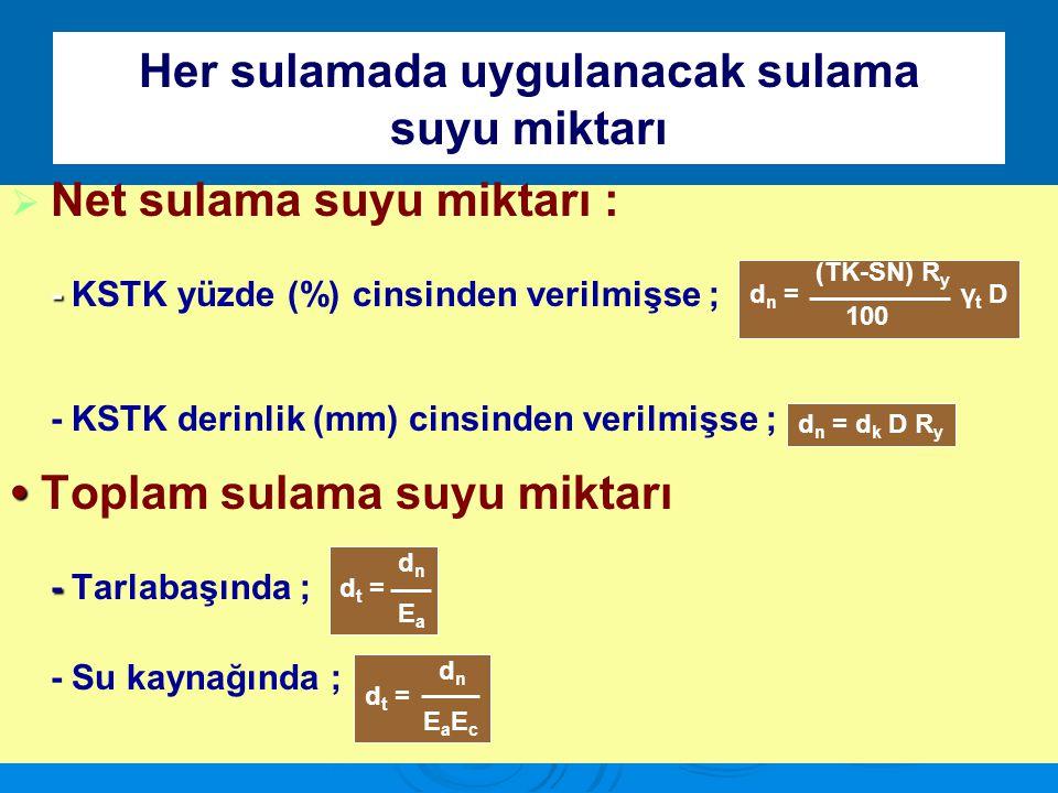Her sulamada uygulanacak sulama suyu miktarı   Net sulama suyu miktarı : - - KSTK yüzde (%) cinsinden verilmişse ; - KSTK derinlik (mm) cinsinden ve