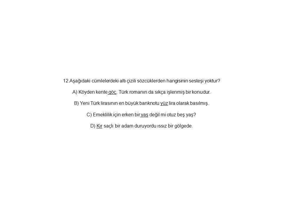 12.Aşağıdaki cümlelerdeki altı çizili sözcüklerden hangisinin sesteşi yoktur? A) Köyden kente göç, Türk romanın da sıkça işlenmiş bir konudur. B) Yeni