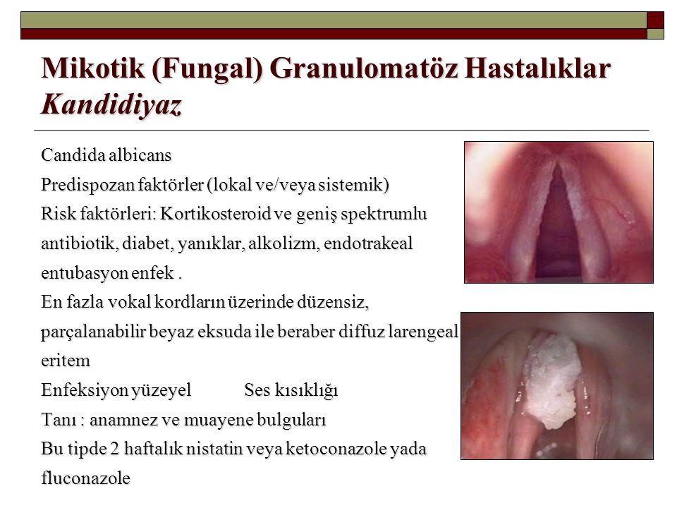 Mikotik (Fungal) Granulomatöz Hastalıklar Kandidiyaz Candida albicans Predispozan faktörler (lokal ve/veya sistemik) Risk faktörleri: Kortikosteroid v