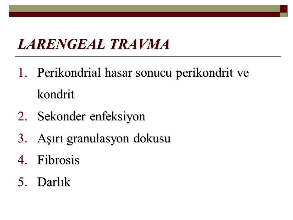 LARENGEAL TRAVMA 1.Perikondrial hasar sonucu perikondrit ve kondrit 2.Sekonder enfeksiyon 3.Aşırı granulasyon dokusu 4.Fibrosis 5.Darlık