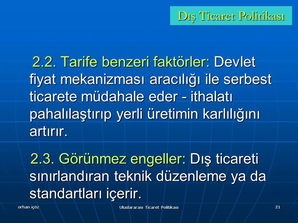orhan içöz Uluslararası Ticaret Politikası 21 2.2.