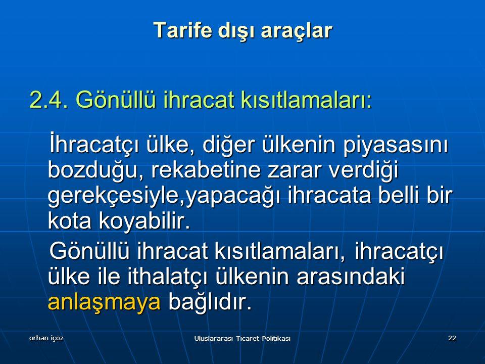 orhan içöz Uluslararası Ticaret Politikası 22 Tarife dışı araçlar 2.4.