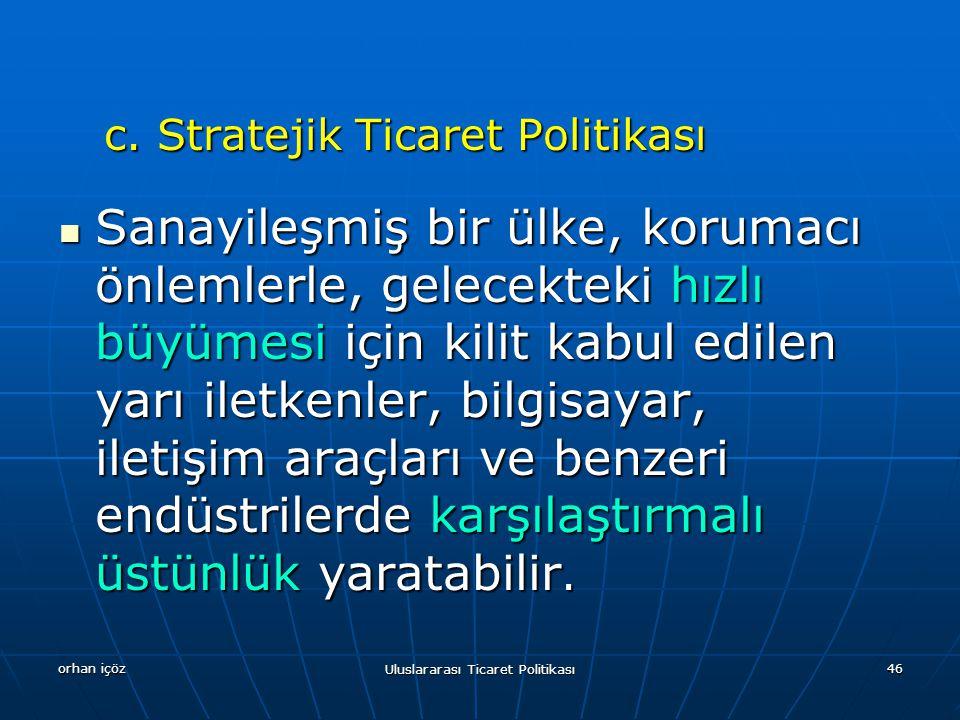 orhan içöz Uluslararası Ticaret Politikası 46 c.Stratejik Ticaret Politikası c.
