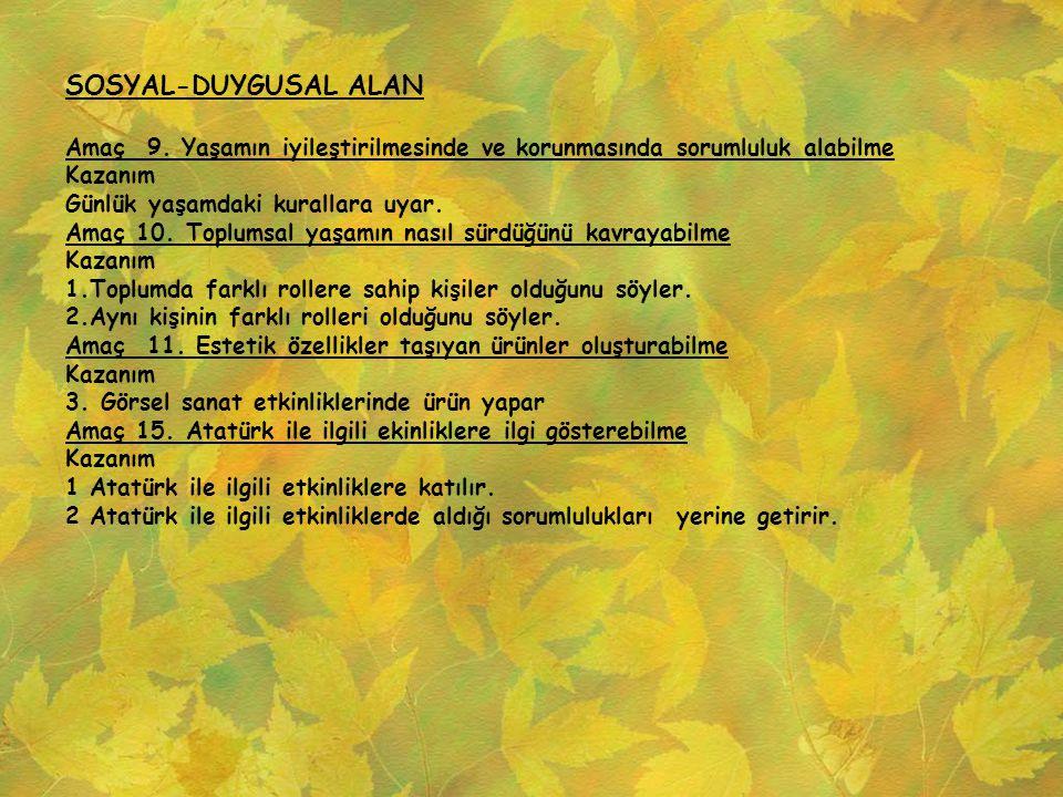 SOSYAL-DUYGUSAL ALAN Amaç 9. Yaşamın iyileştirilmesinde ve korunmasında sorumluluk alabilme Kazanım Günlük yaşamdaki kurallara uyar. Amaç 10. Toplumsa