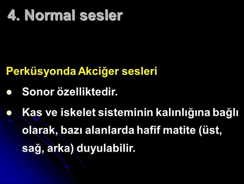 4.Normal sesler Perküsyonda Akciğer sesleri Sonor özelliktedir.