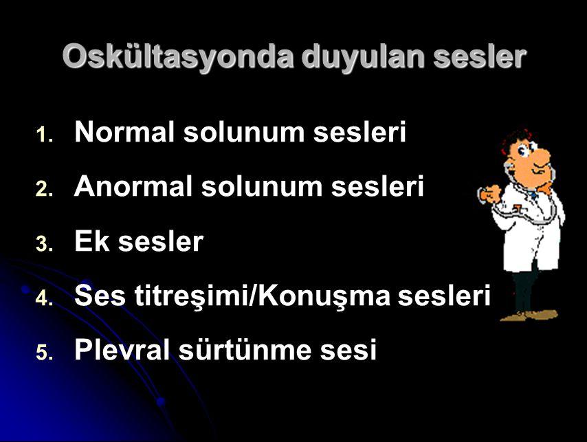 Oskültasyonda duyulan sesler 1.1. Normal solunum sesleri 2.