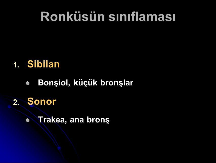 Ronküsün sınıflaması 1. 1. Sibilan Bonşiol, küçük bronşlar 2. 2. Sonor Trakea, ana bronş