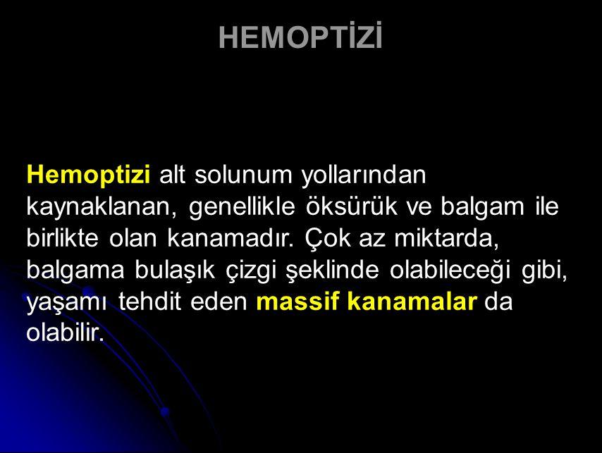 Hemoptizi alt solunum yollarından kaynaklanan, genellikle öksürük ve balgam ile birlikte olan kanamadır.