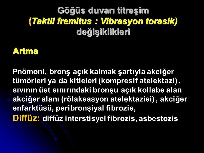Artma Pnömoni, bronş açık kalmak şartıyla akciğer tümörleri ya da kitleleri (kompresif atelektazi), sıvının üst sınırındaki bronşu açık kollabe alan akciğer alanı (rölaksasyon atelektazisi), akciğer enfarktüsü, peribronşiyal fibrozis, Diffüz: diffüz interstisyel fibrozis, asbestozis Göğüs duvarı titreşim (Taktil fremitus :Vibrasyon torasik) değişiklikleri (Taktil fremitus : Vibrasyon torasik) değişiklikleri