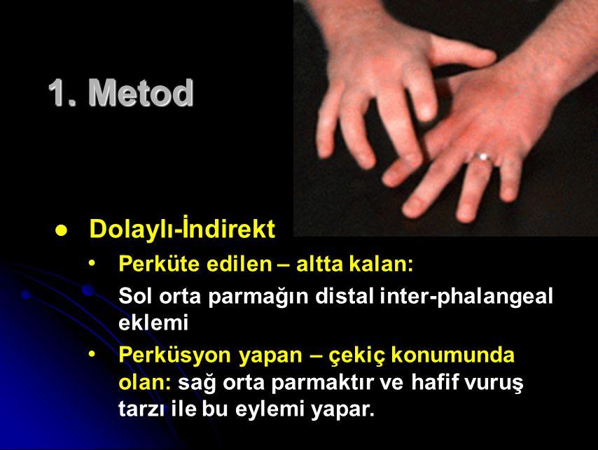 1. Metod Dolaylı-İndirekt Perküte edilen – altta kalan: Sol orta parmağın distal inter-phalangeal eklemi Perküsyon yapan – çekiç konumunda olan: sağ o