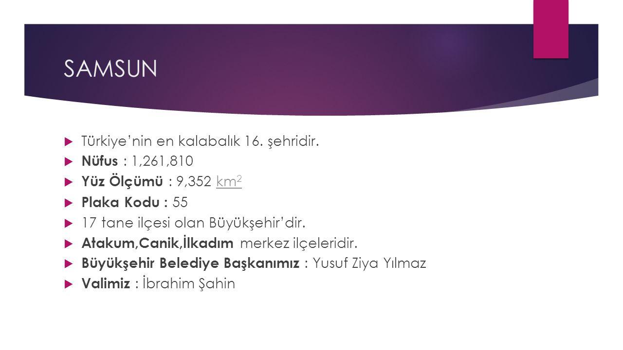 SAMSUN  Türkiye'nin en kalabalık 16. şehridir.  Nüfus : 1,261,810  Yüz Ölçümü : 9,352 km 2km 2  Plaka Kodu : 55  17 tane ilçesi olan Büyükşehir'd