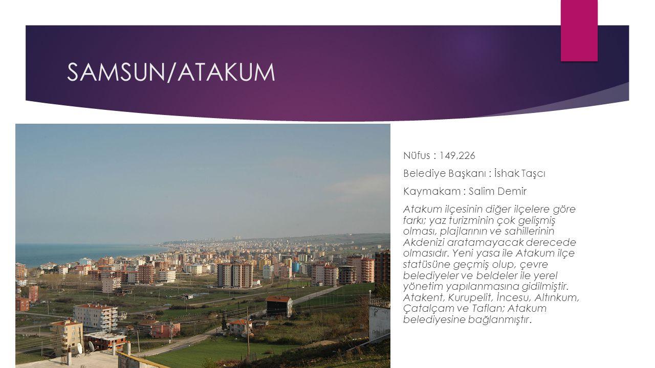 SAMSUN/ATAKUM Nüfus : 149,226 Belediye Başkanı : İshak Taşcı Kaymakam : Salim Demir Atakum ilçesinin diğer ilçelere göre farkı; yaz turizminin çok gel
