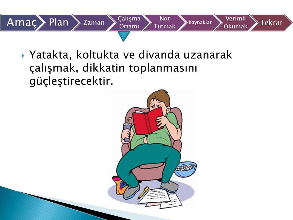  Yatakta, koltukta ve divanda uzanarak çalışmak, dikkatin toplanmasını güçleştirecektir. Amaç Plan Zaman Çalışma Ortamı Not Tutmak Kaynaklar Verimli
