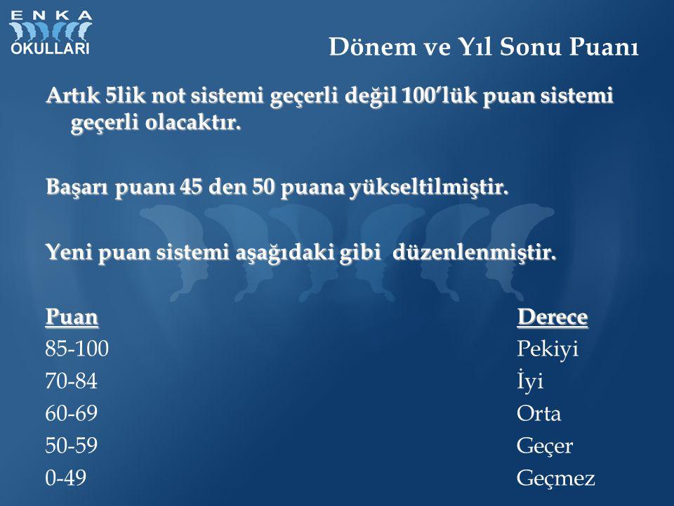 Dönem ve Yıl Sonu Puanı Artık 5lik not sistemi geçerli değil 100'lük puan sistemi geçerli olacaktır. Başarı puanı 45 den 50 puana yükseltilmiştir. Yen