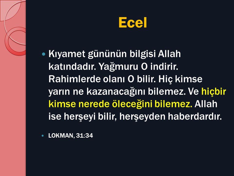 Ecel Kıyamet gününün bilgisi Allah katındadır. Yağmuru O indirir. Rahimlerde olanı O bilir. Hiç kimse yarın ne kazanacağını bilemez. Ve hiçbir kimse n