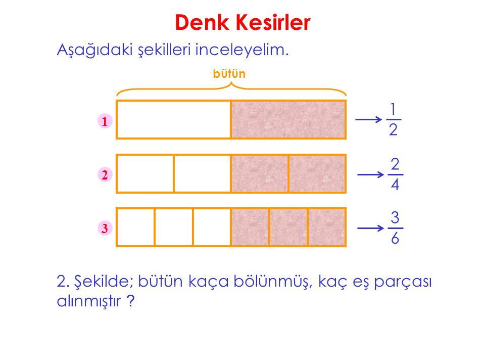 Denk Kesirler Aşağıdaki şekilleri inceleyelim. bütün 1 2 1 2 3 2. Şekilde; bütün kaça bölünmüş, kaç eş parçası alınmıştır ? 2 4 3 6