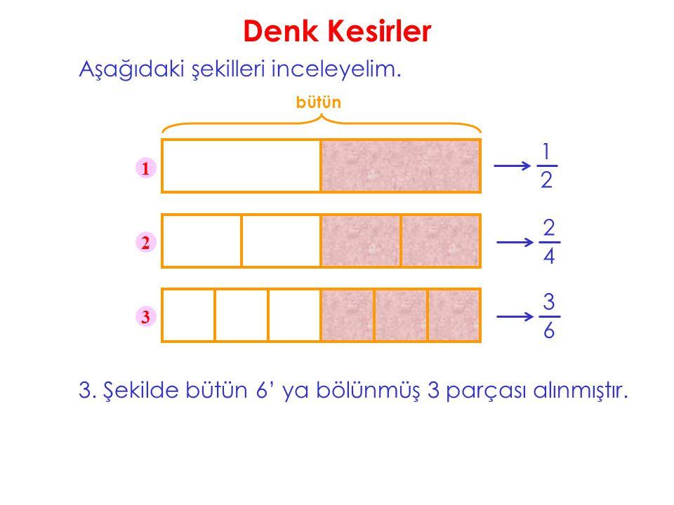 Denk Kesirler Aşağıdaki şekilleri inceleyelim. bütün 1 2 1 2 3 3. Şekilde bütün 6' ya bölünmüş 3 parçası alınmıştır. 2 4 3 6