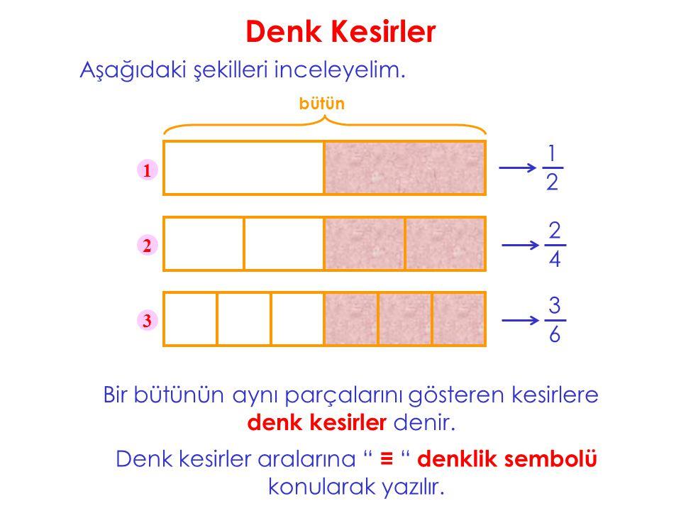 Denk Kesirler Aşağıdaki şekilleri inceleyelim. bütün 1 2 1 2 3 Bir bütünün aynı parçalarını gösteren kesirlere denk kesirler denir. 2 4 3 6 Denk kesir