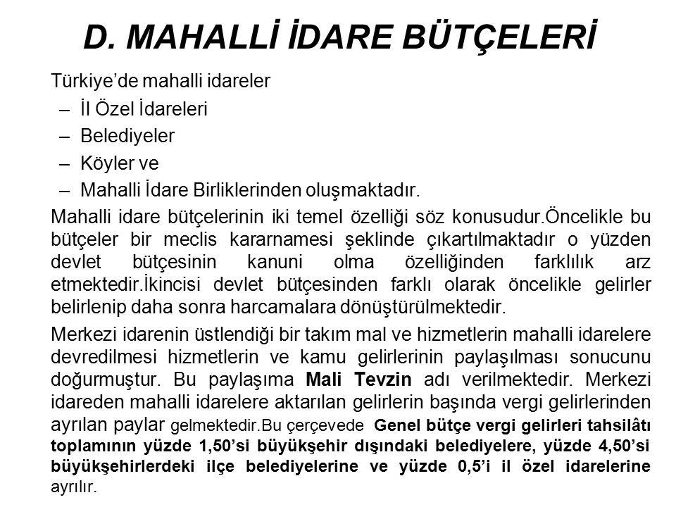 D. MAHALLİ İDARE BÜTÇELERİ Türkiye'de mahalli idareler –İl Özel İdareleri –Belediyeler –Köyler ve –Mahalli İdare Birliklerinden oluşmaktadır. Mahalli