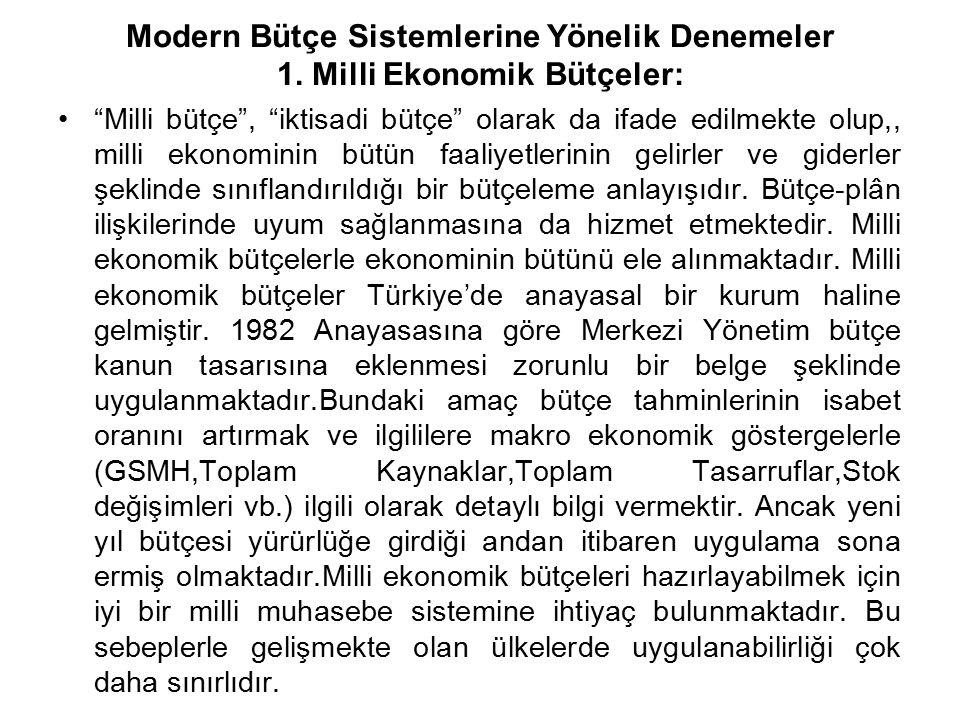 """Modern Bütçe Sistemlerine Yönelik Denemeler 1. Milli Ekonomik Bütçeler: """"Milli bütçe"""", """"iktisadi bütçe"""" olarak da ifade edilmekte olup,, milli ekonomi"""