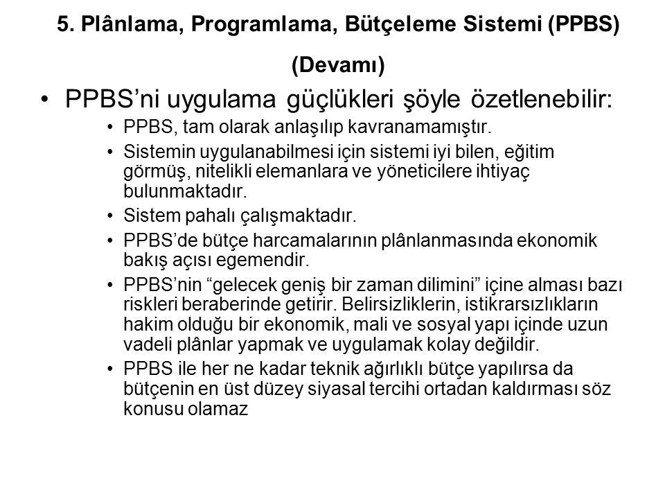 PPBS'ni uygulama güçlükleri şöyle özetlenebilir: PPBS, tam olarak anlaşılıp kavranamamıştır. Sistemin uygulanabilmesi için sistemi iyi bilen, eğitim g