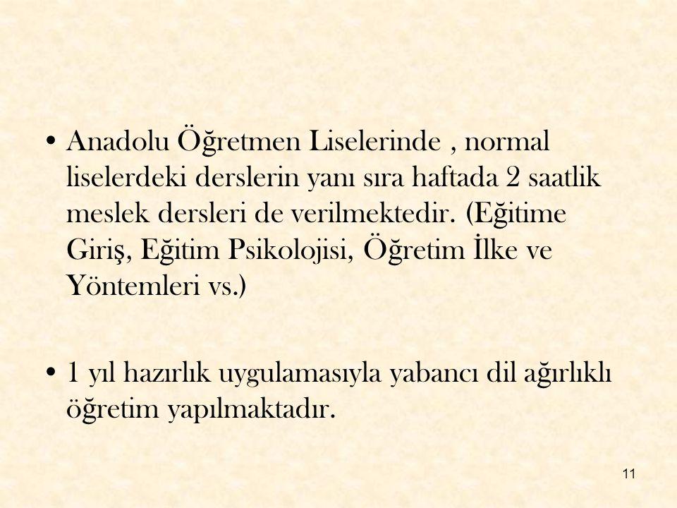 11 Anadolu Ö ğ retmen Liselerinde, normal liselerdeki derslerin yanı sıra haftada 2 saatlik meslek dersleri de verilmektedir. (E ğ itime Giri ş, E ğ i
