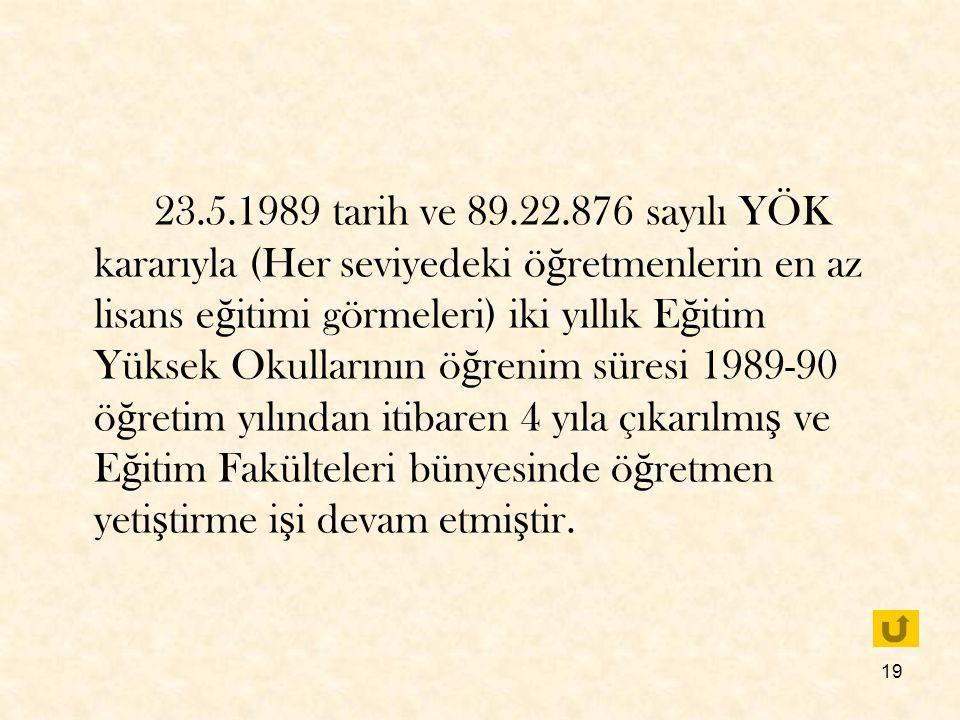 19 23.5.1989 tarih ve 89.22.876 sayılı YÖK kararıyla (Her seviyedeki ö ğ retmenlerin en az lisans e ğ itimi görmeleri) iki yıllık E ğ itim Yüksek Okul