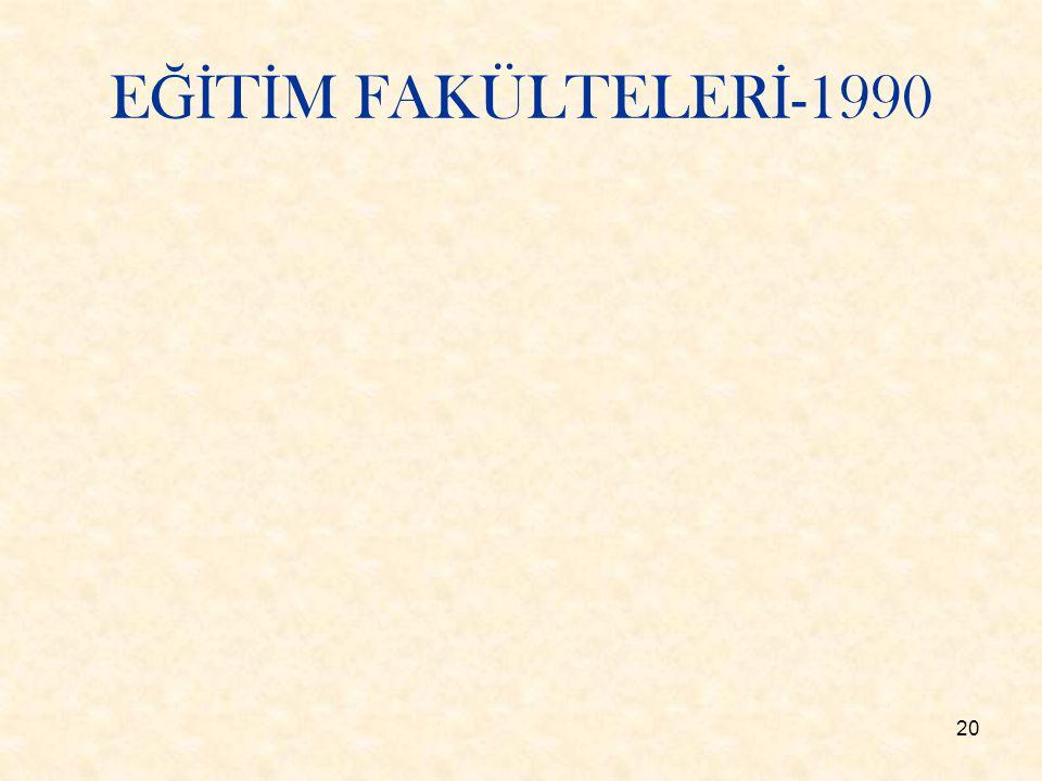 20 E Ğİ T İ M FAKÜLTELER İ -1990