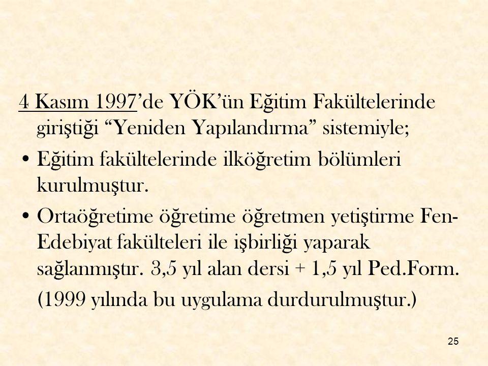 """25 4 Kasım 1997'de YÖK'ün E ğ itim Fakültelerinde giri ş ti ğ i """"Yeniden Yapılandırma"""" sistemiyle; E ğ itim fakültelerinde ilkö ğ retim bölümleri kuru"""