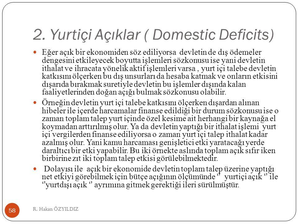 2. Yurtiçi Açıklar ( Domestic Deficits) Eğer açık bir ekonomiden söz ediliyorsa devletin de dış ödemeler dengesini etkileyecek boyutta işlemleri sözko