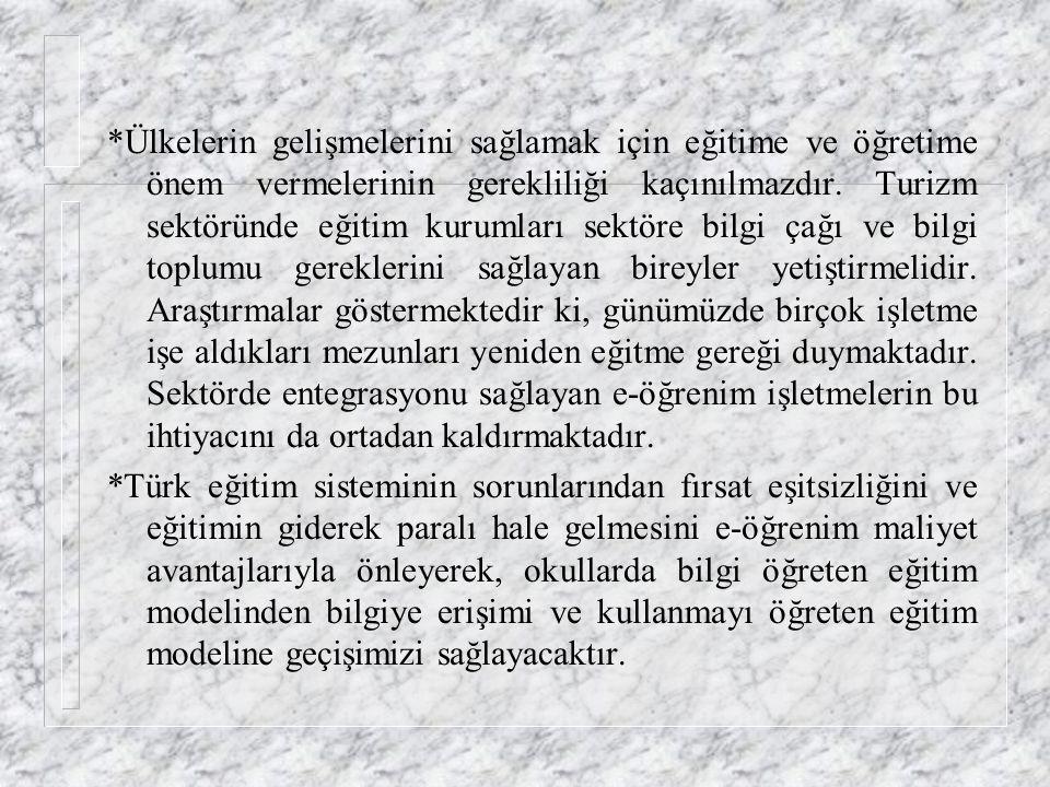 *Türkiye'de coğrafi olarak farklı bölgelerde görev yapan tüm çalışanlara, her hangi bir konuda verilebilecek bir öğrenim için internet veya intranet ü