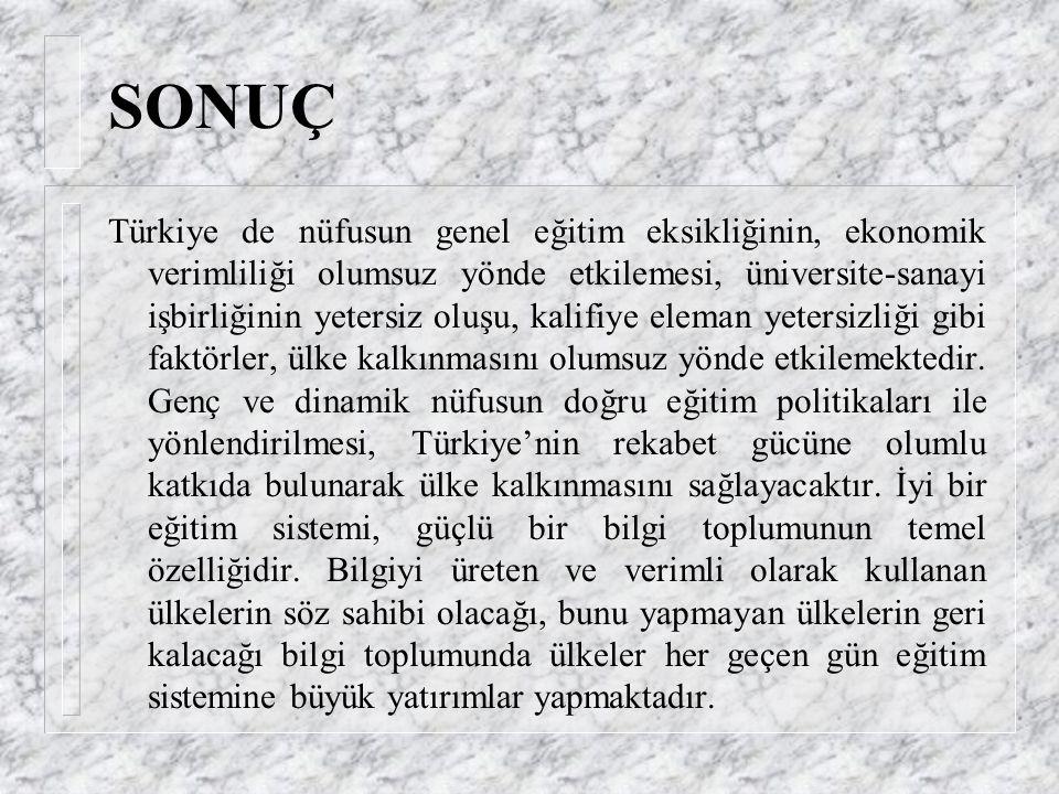 * Türk eğitim sisteminde çağdaş eğitim teknolojilerinin uygulanması, eğitiminin katma değerini artırarak eğitiminin marjinal verimliliğini yükseltecek