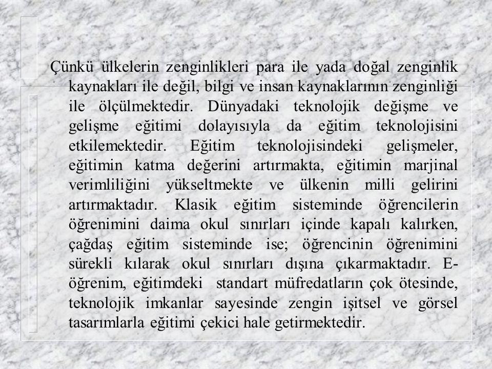 SONUÇ Türkiye de nüfusun genel eğitim eksikliğinin, ekonomik verimliliği olumsuz yönde etkilemesi, üniversite-sanayi işbirliğinin yetersiz oluşu, kali