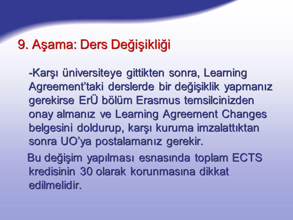 9. Aşama: Ders Değişikliği -Karşı üniversiteye gittikten sonra, Learning Agreement'taki derslerde bir değişiklik yapmanız gerekirse ErÜ bölüm Erasmus