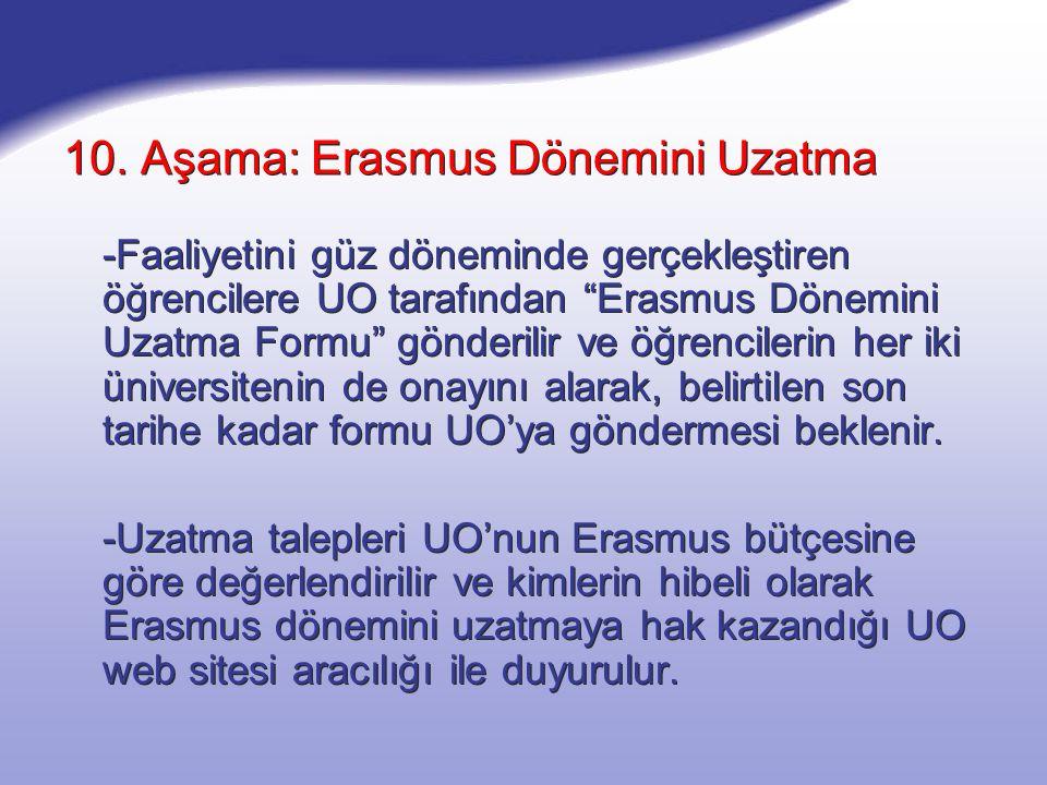 """10. Aşama: Erasmus Dönemini Uzatma -Faaliyetini güz döneminde gerçekleştiren öğrencilere UO tarafından """"Erasmus Dönemini Uzatma Formu"""" gönderilir ve ö"""