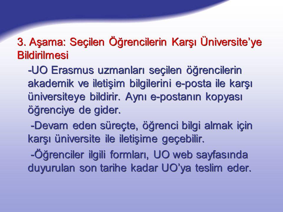 4.Aşama: Posta - Erasmus uzmanları, kendilerine teslim edilen başvuru formlarını Erasmus kurum koordinatörüne imzalattıktan sonra öğrenciye postalaması için birer nüsha teslim eder.